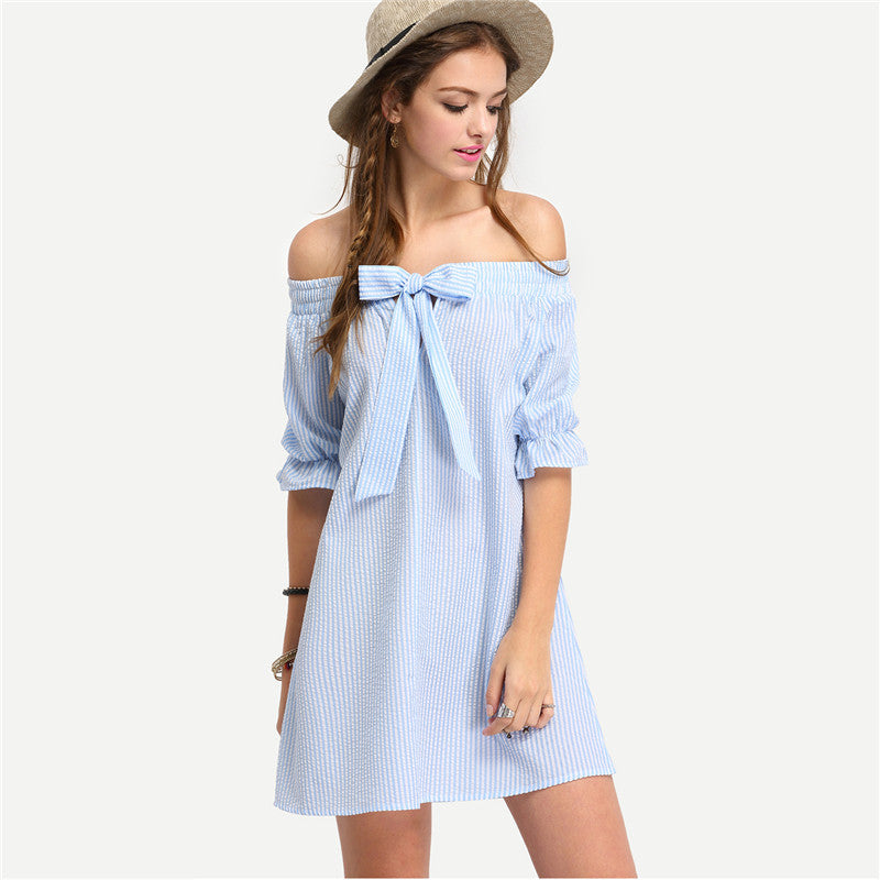 Off The Shoulder Half Sleeve Vertrical Striped Bow Cute Shift Dress