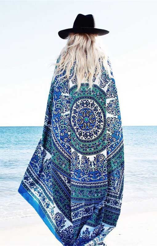 Mandala Beach Cover Up Cloak Bohemia Bikini Boho Hippie Swimwear Bathing Suit - Hippie BLiss
