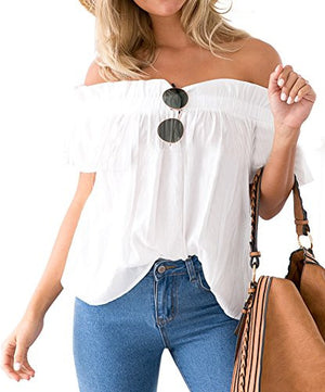 ICOOLTECH Women's Off Shoulder Boho Shirt Loose Blouses Casual Crop Tops