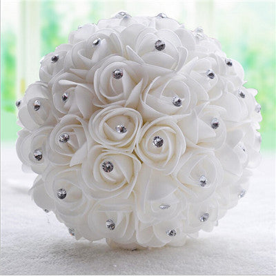 Beautiful White Ivory Bridal Flower wedding bouquet artificial flower rose bouquet Crystal bridal bouquets - Hippie BLiss