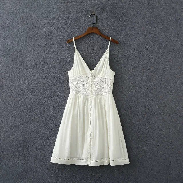 Summer Sexy Lace Backless Mini Dresses V-Neck Sleeveless Vintage Beach
