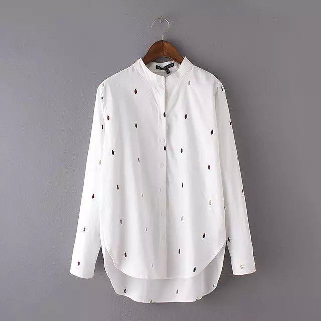 Style Office Raindrop Embroidery Gray Blouse Stand Collar Long Sleeve Work Wear