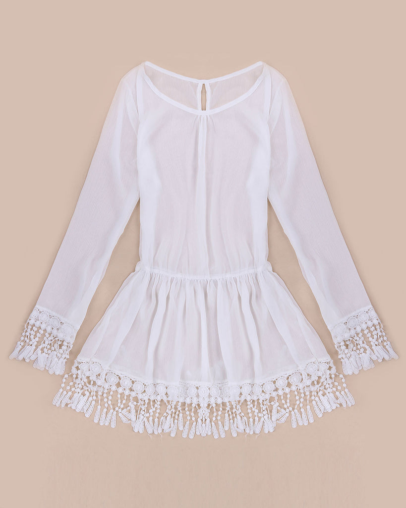 Boho chic casual summer dress tassel dress short sexy lace for Crochet wedding dresses for sale