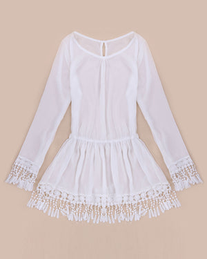Boho Chic Casual Summer Dress Tassel Dress Short Sexy Lace Crochet Chiffion Tunic - Hippie BLiss
