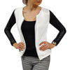 Women PU Leather Casual Zip Long Sleeve Chic Stylish Top Outwear