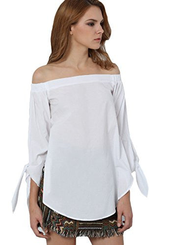 Off The Shoulder Knotted Long Sleeve Loose Blouse Color - White