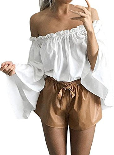 FARYSAYS Women's Ruffled Bell Sleeve Shirt Stripless Blouse Off Shoulder Tops
