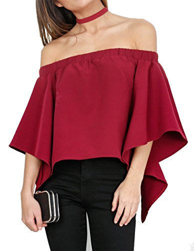 Relipop Women's Off Shoulder Tops Fashion Shirt Casual Strapless Blouses