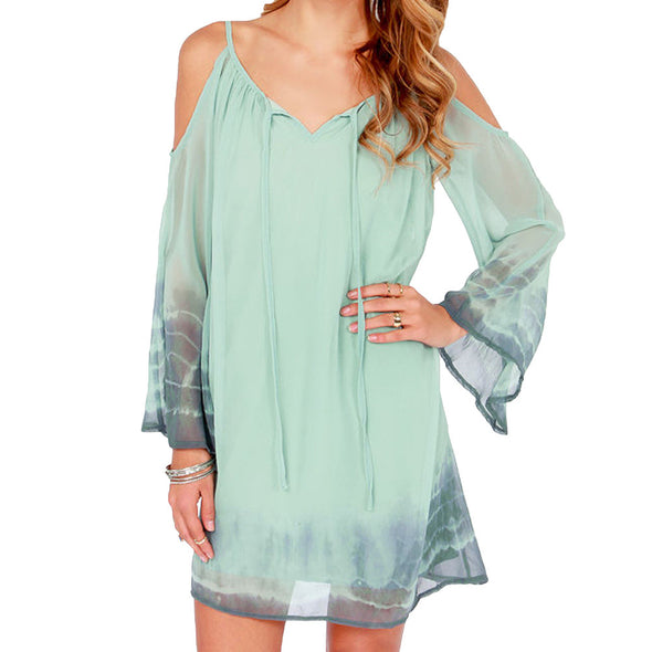 Bohemian Summer Dress Off Shoulder Sleeves Boho Dress Vintage Long Sleeve Print Chiffon Beach - Hippie BLiss