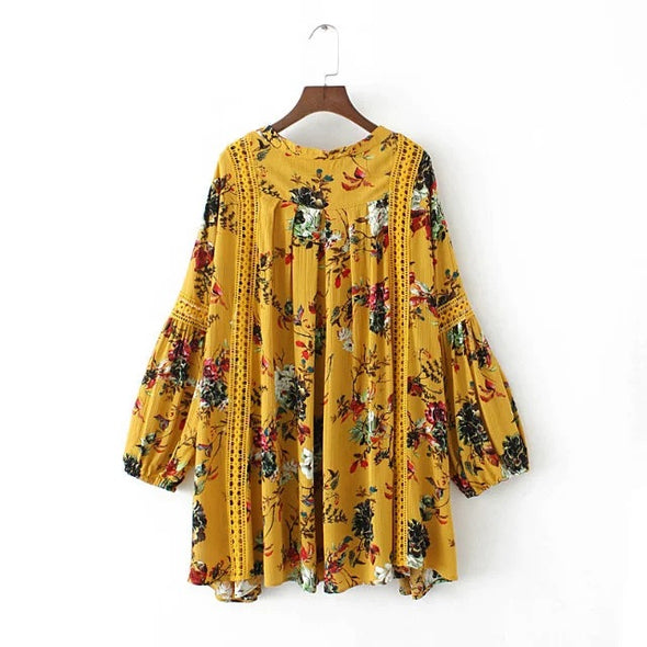 Yellow Flower Print Boho Dress