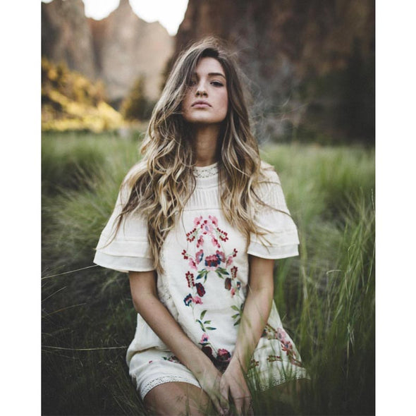 Floral Embroidery Boho Dress - Boho Chic Short Dress - Hippie BLiss