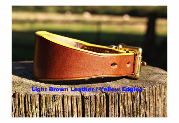 Sighthound collar with custom colour edging