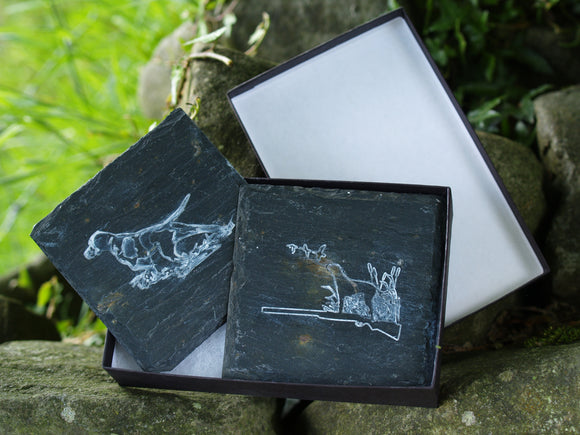 Shooting / Dog Slate Coasters