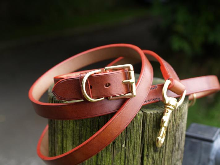 Straight Collar & Lead Set - Red Edge
