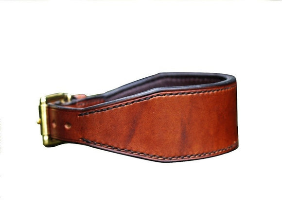 Oak Bark Tanned Leather  Lined Lurcher Collar