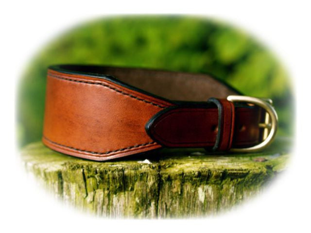 Luxury Lined Lurcher Collar - 'The Oak' Collection