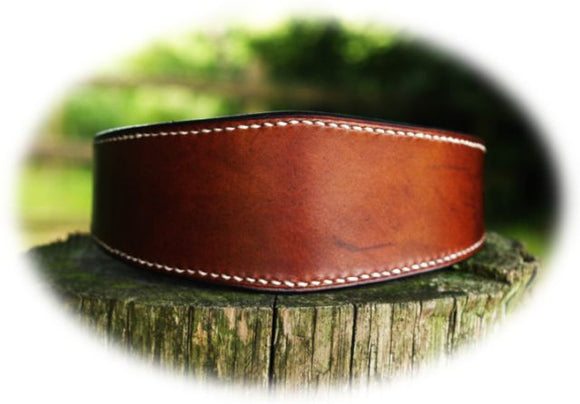 Contrast Stitch Lined Lurcher Collar - 'The Oak' Collection