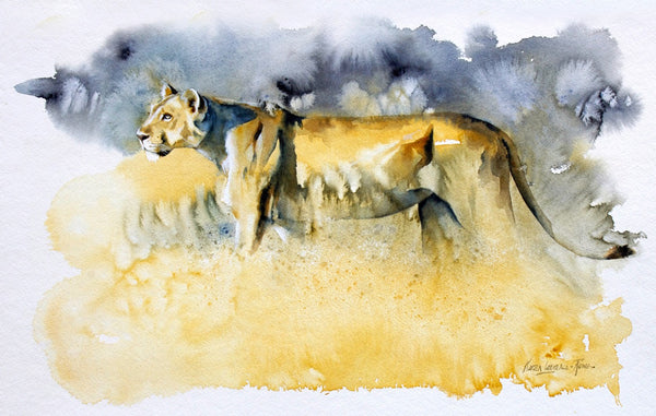 Limited Edition 'Ngorongoro Lioness' print by Karen Laurence-Rowe sold in aid of Animals saving Animals