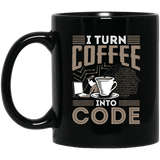 I Turn Coffee Into Code (mug) - Programming Tshirt, Hoodie, Longsleeve, Caps, Case - Tee++