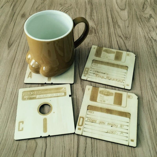 Wooden Floppy Disk Coasters (with box) - Programming Tshirt, Hoodie, Longsleeve, Caps, Case - Tee++