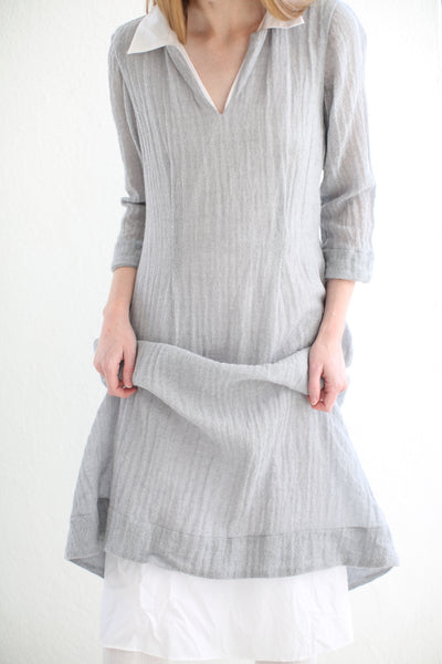 20.3.07 Ghost Wool Dress, with Cotton Lining and Collar/ GREY