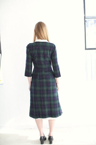 20.3.07 Ghost Wool Dress, with Cotton Lining and Collar/ Plaid