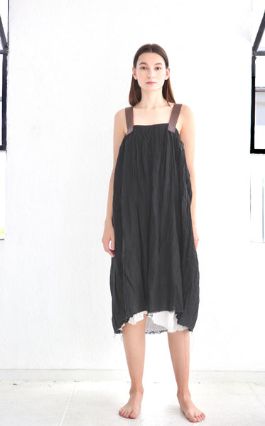 16.2.08 Dress with Leather Straps/ Black