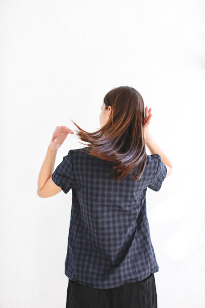 20.2.03 Ruffle Blouse - Navy Check