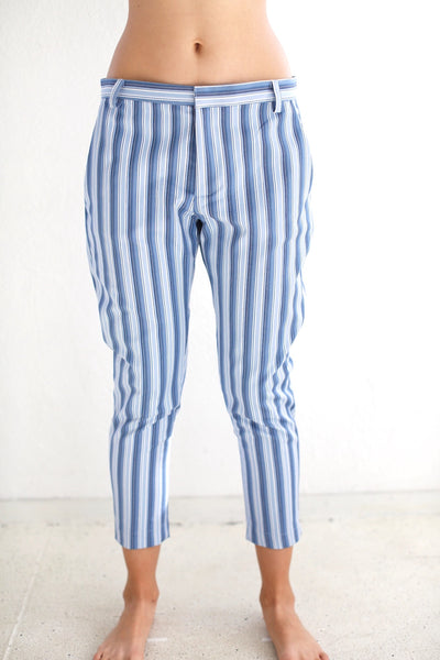 19.3.06 Skinny Trousers, Blue Stripe