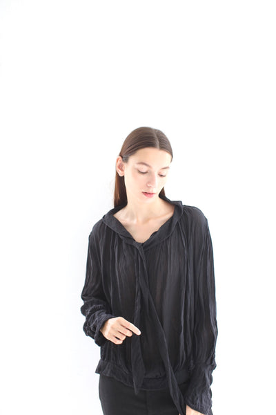 20.3.04 Silk Blouse with Bow, Black