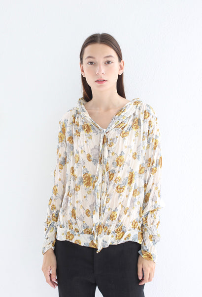 Silk Blouse with Bow, Print