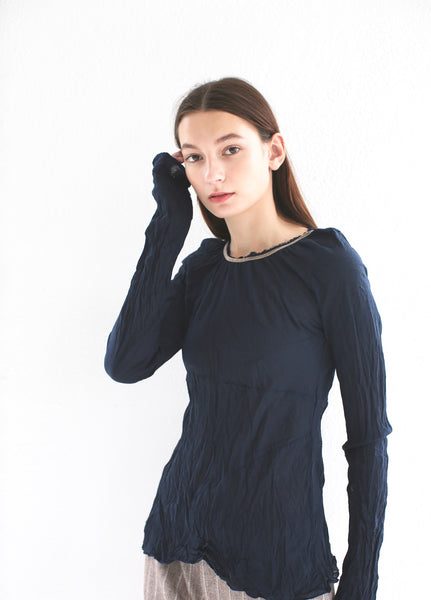 20.3.01 Cotton Voile Blouse with Neck Gathers, Navy