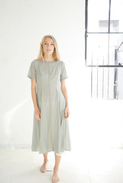 20.1.07 Cotton Dress With Cupro Lining- Grey