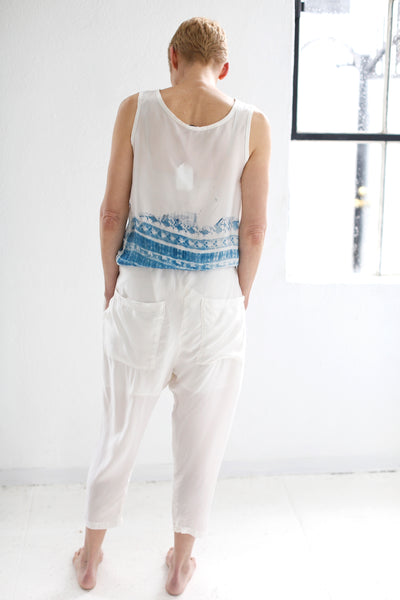 THE HAZEL BROWN COLLECTION CUPRO SLOUCH PANT WHITE