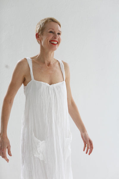 THE HAZEL BROWN COLLECTION  SILK AND COTTON GAUZE DRESS WITH PAINTED HEM WHITE