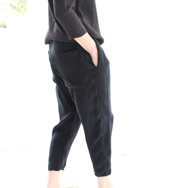 THE HAZEL BROWN COLLECTION CUPRO SLOUCH PANT BLACK