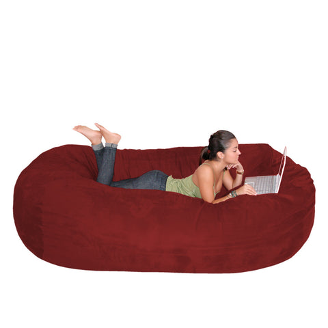 Bean Bag Chair Large 7 Foot Cozy Sack Premium Foam Filled Liner Plus Microfiber Cover