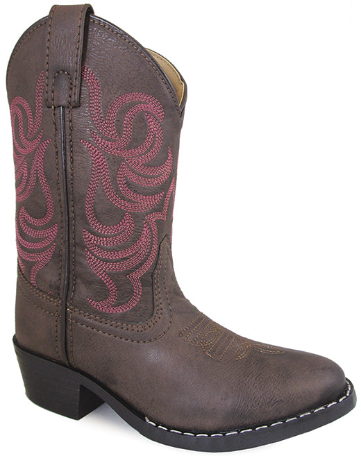 Smoky Mountain Girls Brown with Pink Stitch Monterey Western Cowboy Boots