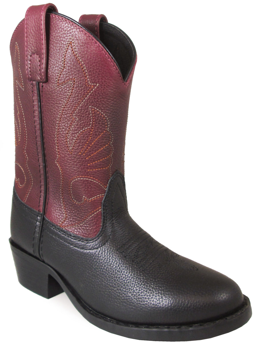 Smoky Mountain Children's Cisco Pull On Two-Tone Leather Round Toe Black/Plum Western Boots