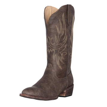 Women's Western Cowgirl Cowboy Boot | Brown Cimmaron Round Toe by Silver Canyon
