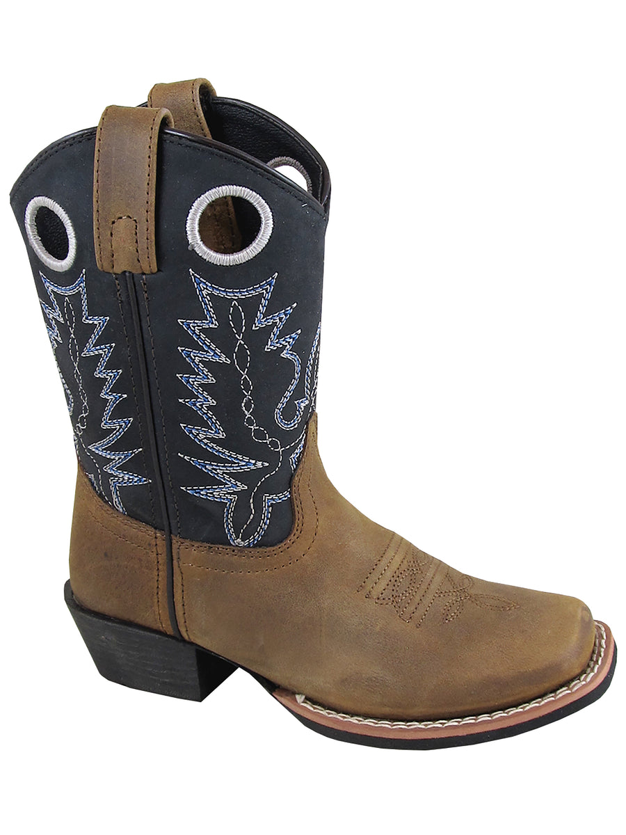 Smoky Mountain Childs Western Mesa Square Toe Boots Brown Distress/Black