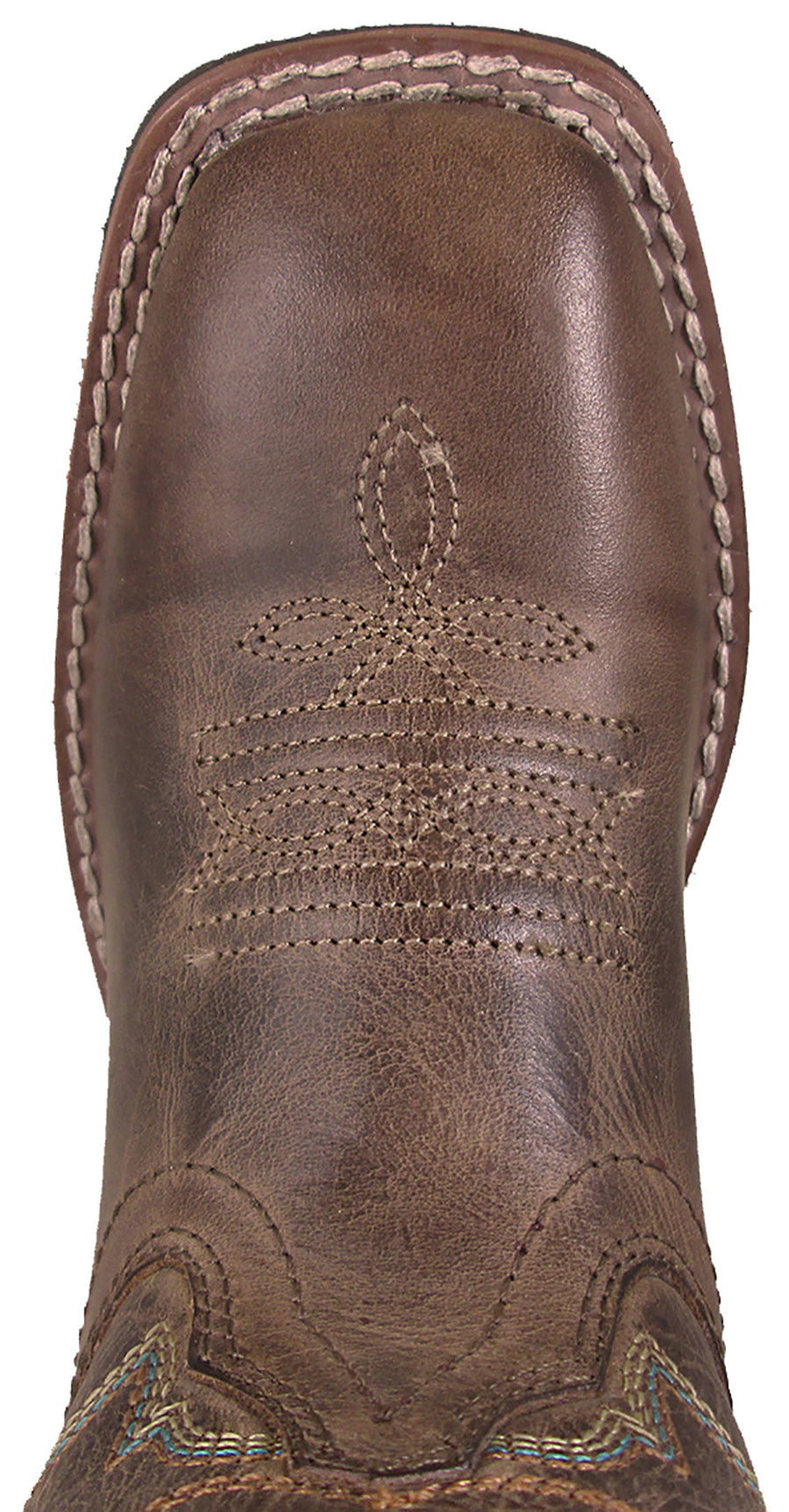 Smoky Mountain Youths Jesse Western Cowboy Boots Stitch Leather Square Toe Brown