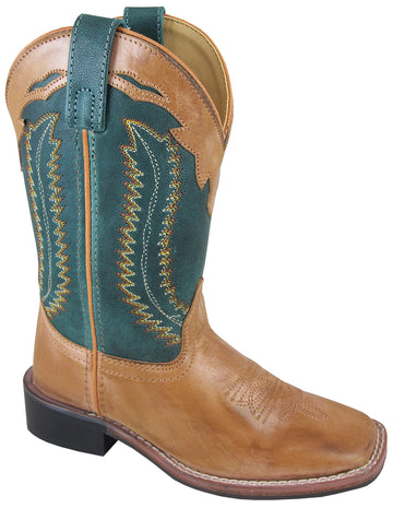 Smoky Mountain Youth Frank Leather Stitched Square Toe Bomber Tan/Green Western Cowboy Boot