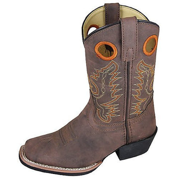 Smoky Mountain Childs Memphis Sq Toe Boot Brown Distress - westernoutlets