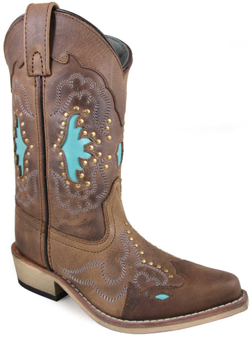 Smoky Mountain Youths' Moon Bay Studded Design Snip Toe Brown Distress/Turquoise Boots