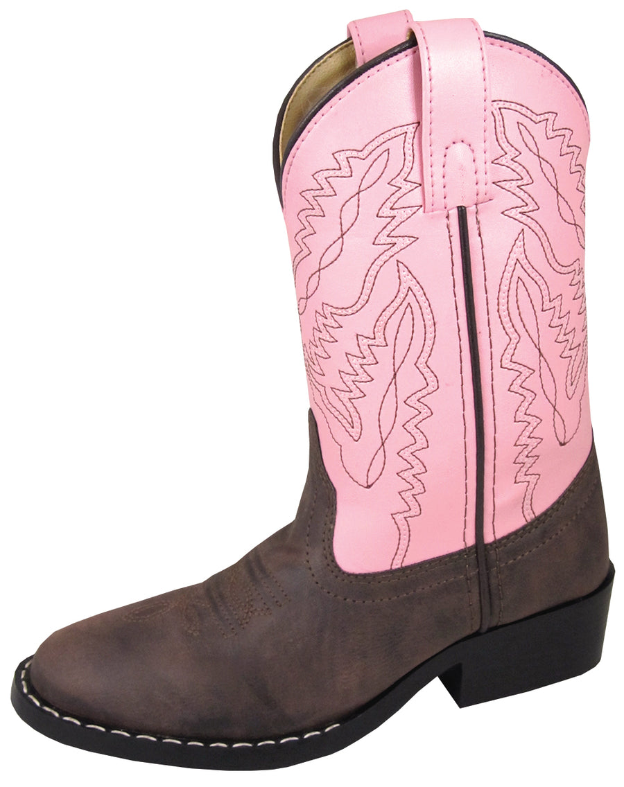 Smoky Mountain Childrens Girls Monterey Western Cowboy Boots Brown/Pink