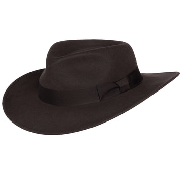 Men's Indiana Outback Fedora Hat |Brown Crushable Wool Felt by Silver Canyon