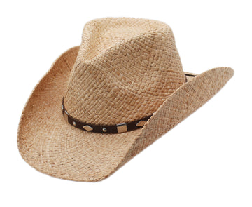 Silver Canyon Men's Winslow Raffia Straw Western Cowboy Summer Sun Hat - Natural