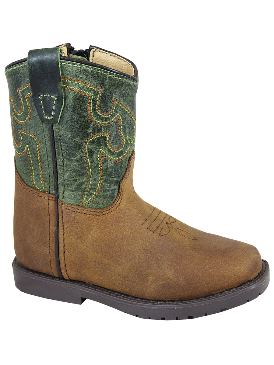 Smoky Mountain Toddlers Brown/Green Autry Square Toe Western Cowboy Boot