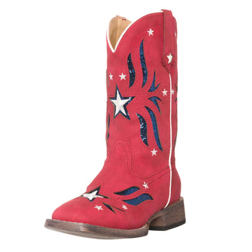 Children Western Kids Cowboy Boot | Star Glitter Red Americana Flag for Girls by Silver Canyon